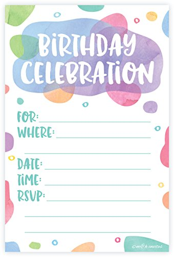 (Watercolor Dots - Birthday Party Invitations - Fill In Style (20 Count) With Envelopes)
