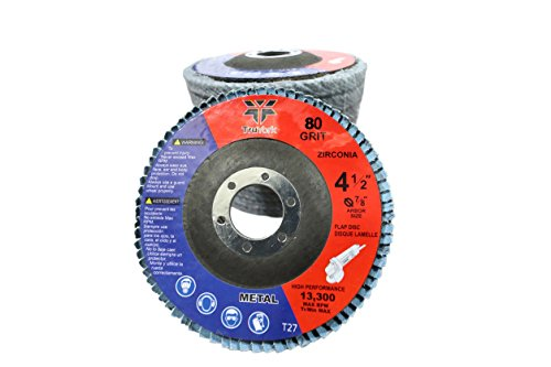 Sanding Discs - 4.5in Heavy Duty Zirconia Abrasive Grinding wheels, 10 Pack ( 40 grit 5pcs & 80 grit 5pcs ) For Angle Grinder, 7/8
