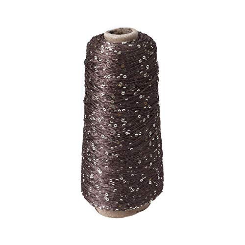 SUPVOX Sparkly Cotton Yarn with Sequin Crochet Thread Crafts Knitting Yarn (250g Coffee) ()
