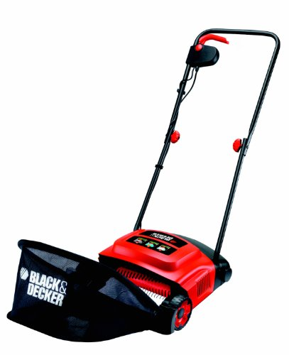 Black + Decker Elektro-Rasenlüfter zur ganzjährigen Rasenpflege, 30 cm Arbeitsbreite, drei Arbeitshöhen, GD300