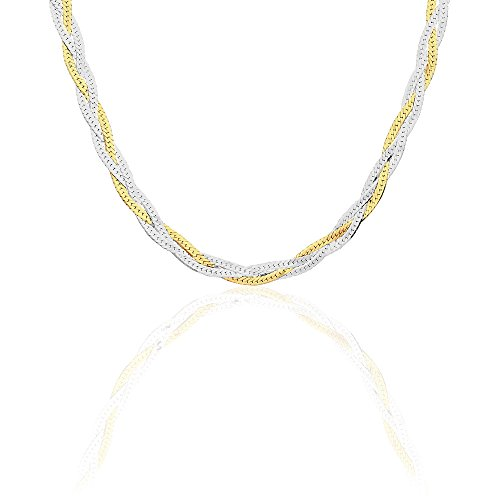 HISTOIRE D'OR - Collier Argent Bicolore Maille Tresse - Femme - Argent 925/1000