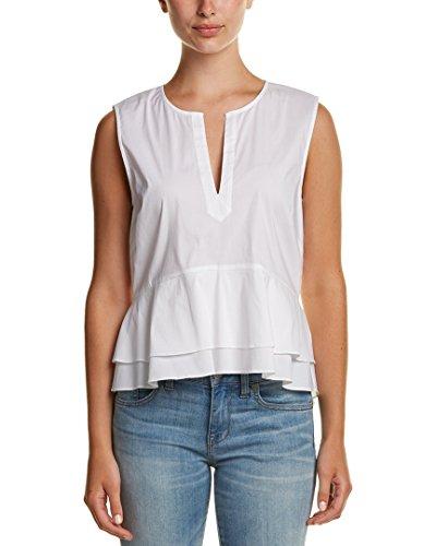[Bcbgmaxazria Womens Peplum Top, M, White] (Shirred Puff Sleeve Tops)