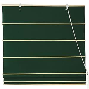 Oriental Furniture Cotton Roman Shades - Dark Green - (24 in. x 72 in.)