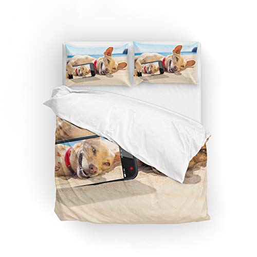 My Little Nest Duvet Cover Set Twin Size Dog Lying on The Sand Zipper Closure with 1 Pillow Case Microfiber Comfortable Durable