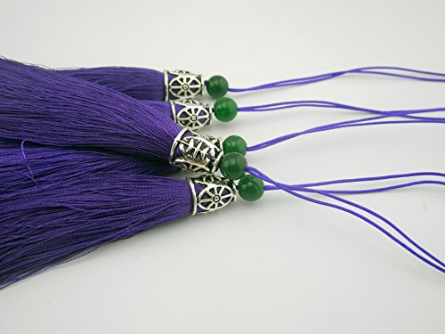 10pcs 3.6''(9.0cm) Soft Silk Tassels for Jewelry with Hollowed Antique Silver Cap and Jade Beads (Purple) from Sansam