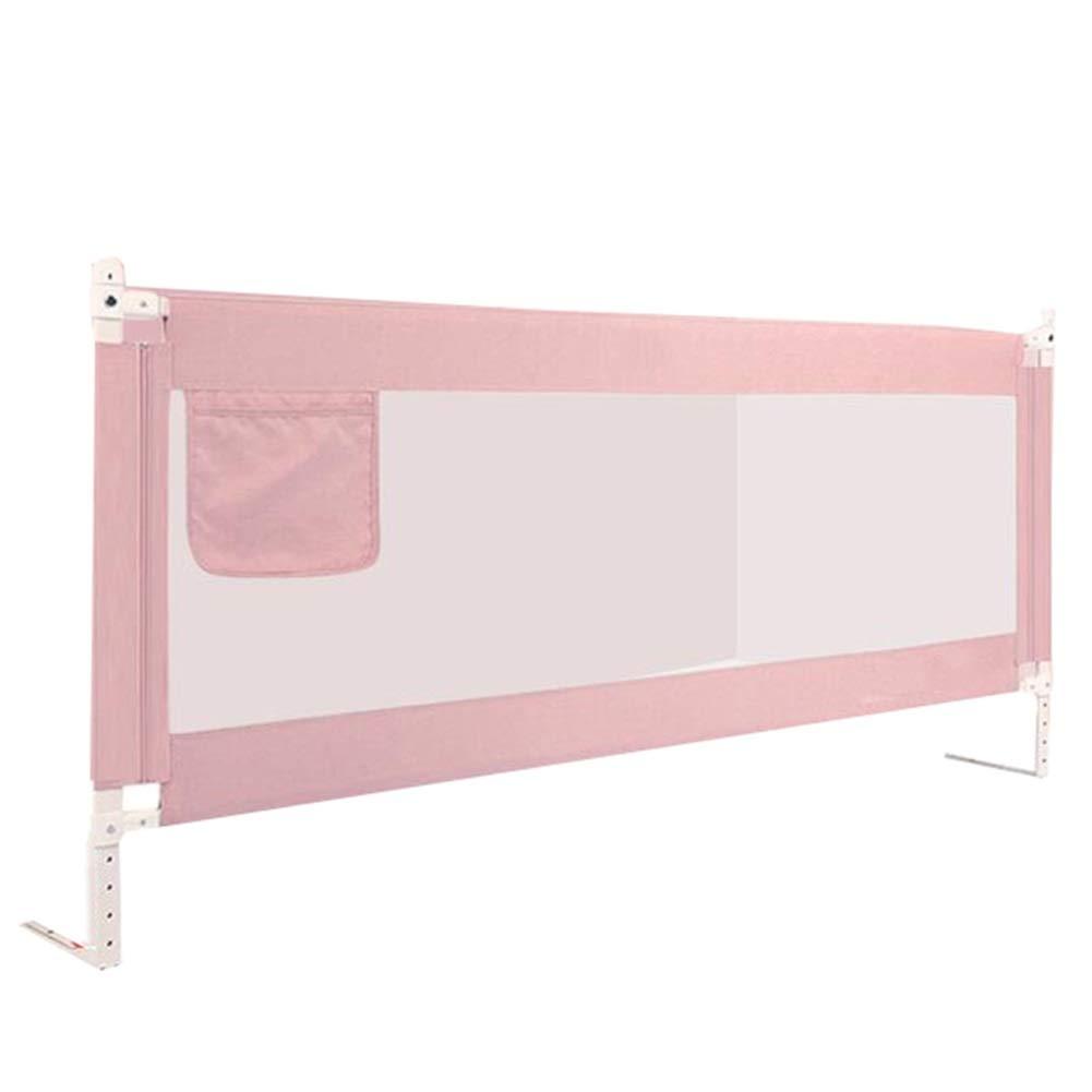 WHAIYAO ベッドレール幼い子供向きシングルサイドガードレール高さ調節可能親密な収納バッグ3色4サイズ (Color : Pink, Size : 200x85CM) 200x85CM Pink B07TW821M4