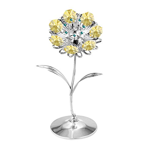 Chrome Plated Sunflower Free Standing with Gold Swarovski Element Crystal