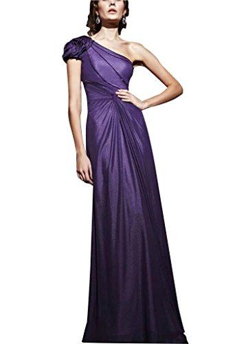 bodenlangen Perlen Lila mit BRIDE Schulter Abendkleid Applikationen Mantel Spalte GEORGE Chiffon einer z4pqXOwB