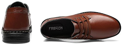 Low Oxfords Round Brown Lace Shoes Trendy up Leather Summerwhisper Top Mens Toe Dress RYZwZ6q