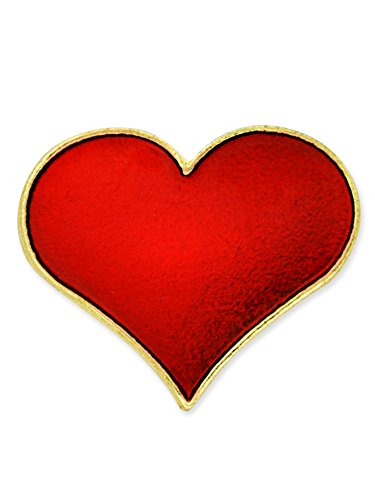 (PinMart's Red Heart Gold Plated Valentine's Day Enamel Lapel Pin 3/4