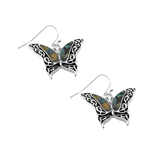 Abalone Butterfly Drop Earrings (Antiqued Filigree Butterfly Ring)
