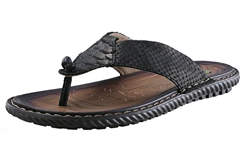 Norocos Men's Classical Comfortable Flip Flops Rubber Slippers Casual Leather Sandals