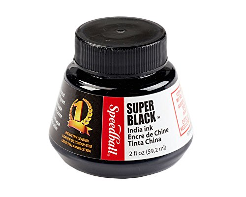 Speedball 2-Ounce India Ink, Super Black (Black Ink Bottle)
