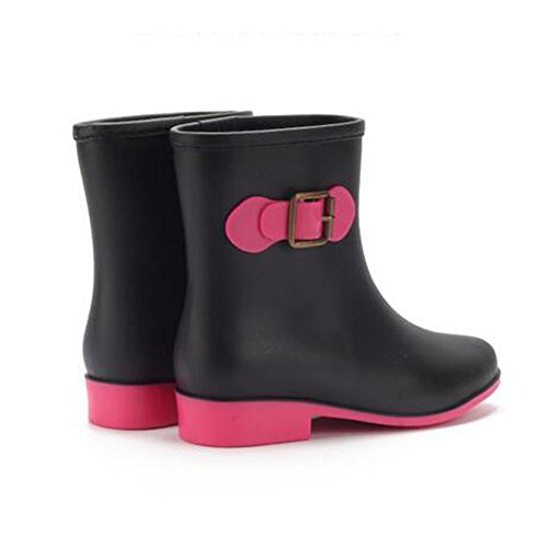 Mid slip Haodasi Rainboots Black Rain Martin Ladies Calf Rain Boots Rubber Anti Women Shoes 55r78wU