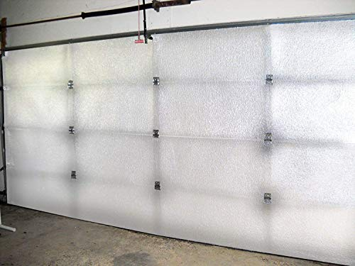 NASA TECH White Reflective Foam Core 2 Car Garage Door Insulation Kit 18FT (WIDE) x 8FT (HIGH) R Value 8.0 Made in USA New and Improved Heavy Duty Double Sided Tape (ALSO FITS 18X7) (2 Door Garage)