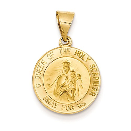 Holy Scapular - 14K Yellow Gold Queen of The Holy Scapular Round Medal Charm Pendant