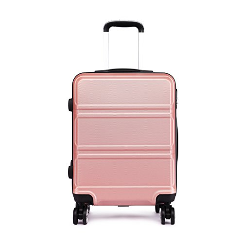 Kono 24 inch Medium Check in Suitcase Hard Shell ABS Travel Trolley Case 65cm, 61L Spinner Luggage (Nude)