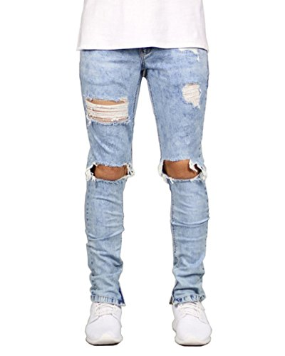 (DEITP Men's Light Blue Distressed Destroyed Ripped Slim Fit Skinny Stretch Denim Jeans)