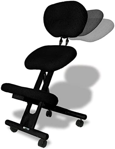 Ergonomic Kneeling Chair, with Back, Improve Your Posture with Angled seat, Non-deformable Cushions, rubberwood Frame