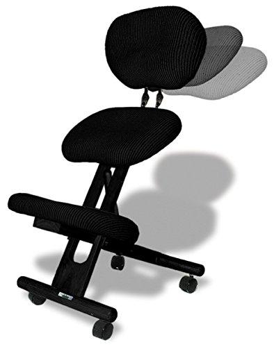 Cinius sedia ergonomica legno e tessuto nera adatto per for Sedia ergonomica