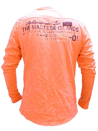 Camp David Shirt Island of Malta Neon Orange Henley 1/1 L