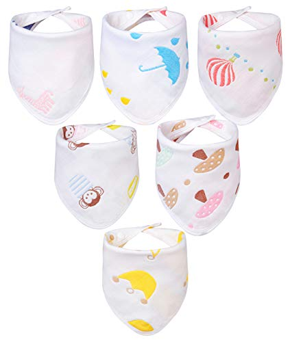 Growth Pal 6 Pack 100% Organic Cotton Baby Bandana Drool Bibs and Teething Super Absorbent Soft for Toddlers Boys & Girls
