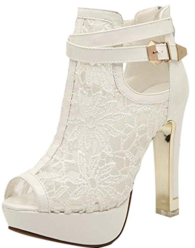 Janeyer Women's Lace Peep Toe Vogue Party Cocktail High Heels Sandal Boots White (Vogue High Heel Sandals)
