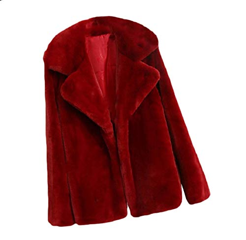 Women Down Size Color Fluffy Red Turn Coat Howme Solid Top Wine Fall Plus Collar FxYZqd