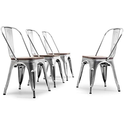 Belleze Set of 4 Dining Chairs Backrest Modern Stackable w/Wood Seat Stool, Gunmetal (Style Industrial Kitchen Table)