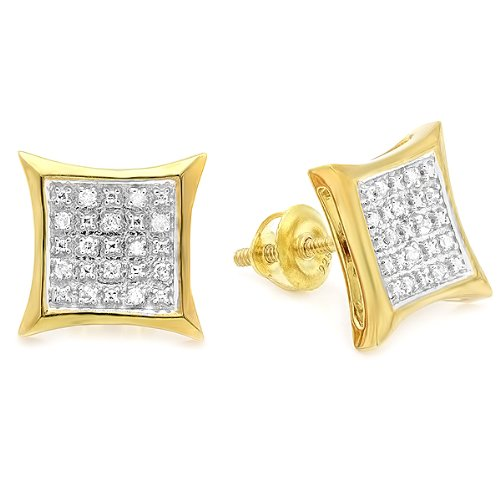 rling Silver Round White Diamond Kite Shape Stud Earrings 1/10 CT ()