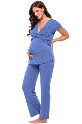 Ekouaer Womens Maternity Nursing Pajama Set Breastfeeding Pjs for Hospital (Black, Gray) (L, Blue)