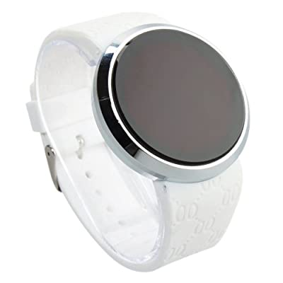 Mefeir LED Touch Screen Circular Surface Pattern Stainless Steel Watchcase Silicone Strap Watch White