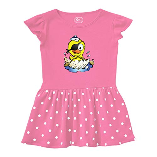 Chick Pirate in Eggshell Animals Short Sleeve Taped Neck Girl Cotton Toddler Rib Dress School Clothes - Hot Pink, -