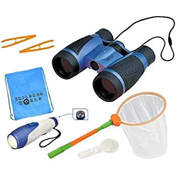 Binoculars For Kids - Includes Binoculars With 4 x 30 Magnification, Butterfly Net, 2 Tweezers, Flashlight With Belt Clip and Built In Compass, Magnifying Glass + Bonus Carry Bag - By Explorer World