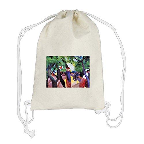 Promenade (August Macke) Cotton Canvas Backpack Drawstring Bag - Promenade Florida