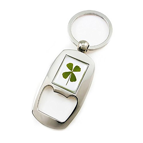 4 Openers (Genuine Four-leaf Lucky Clover Crystal Amber Accessory, Bottle Opener Key Chain, Open and Celebrate for Good Luck!)