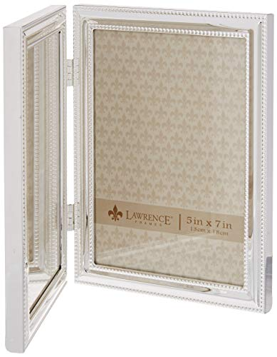 Lawrence Frames Hinged Double (Vertical) Metal Picture Frame Silver-Plate with Delicate Beading, 5 by 7-Inch