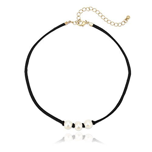 POMINA Suede Choker Necklaces, 16 inches (Black)
