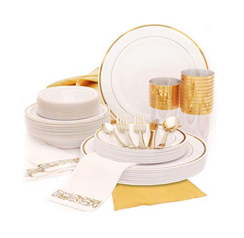 Earth's Dreams Gold Dinnerware Set Disposable [25 Guest 301 Piece] Thanksgiving Gold Plastic Plates, Disposable Wedding…