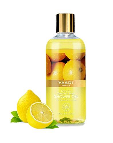 Shower Gel - Sulfate-Free - Herbal Body Wash both for Men and Women - 300 ml (10.14 fl oz) - Vaadi Herbals (Refreshing Lemon & Basil) (1 Bottle)