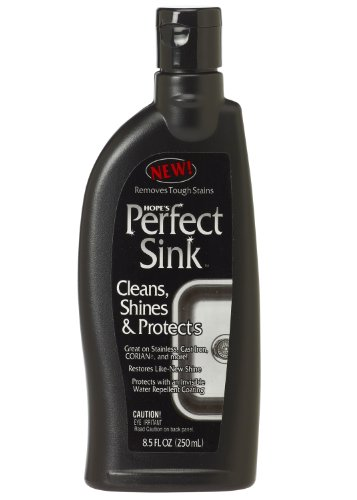 Hope's Perfect Sink - 8.5 oz Sink Cleaner and Polish, Restorative, Water-Repellant Formula, Removes Stains, Good for Brushed Stainless Steel, Cast Iron, Porcelain, Corian, Composite, Acrylic, Vitreous China (Best Thing To Clean Stainless Steel Sink)