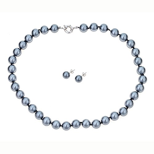 Grey Shell Pearl Necklace with Matching Earrings