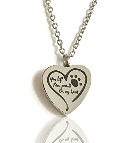 - FIKA You Left Paw Prints On My Heart Pet Dog Cat Cremation Ashes Remembrance Urn Pendant Necklace Jewelry Filling Kit Included