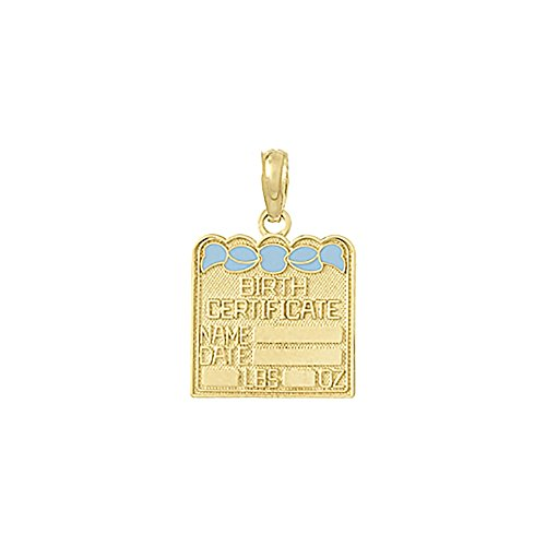 14k Yellow Gold Novelty Charm Pendant, Small Birth Certificate with Light Blue Enamel Bow by Million Charms