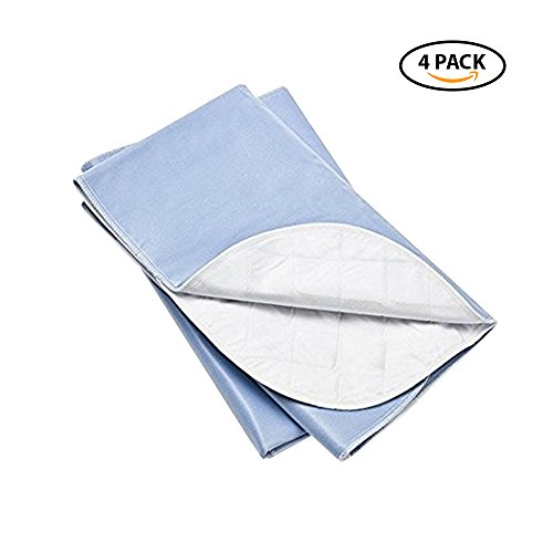 Platinum Care Pads Washable Blue Large Standard Reusable Bed Pads/Hospital Underpads, for use with Incontinence and Pets Size 34x36 in, Pack of 4 by Platinum Care Pads