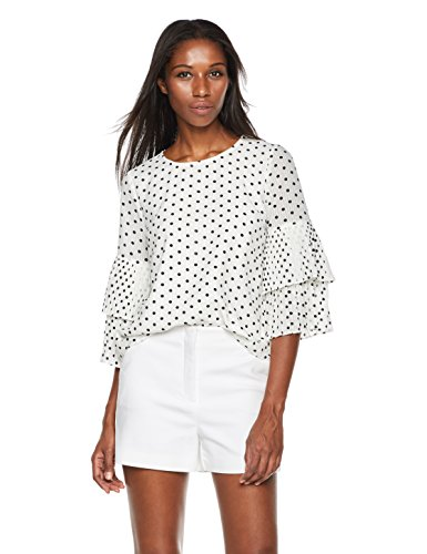 Plumberry Women's Pleated Sleeve Polka Dots Casual Loose Blouse Tops White X-Large