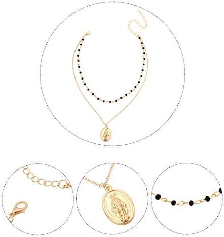Sethain Boho Perline collana girocollo Collana Oro Moneta Catena Corto Pendente Collane Gioielleria per donne e ragazze