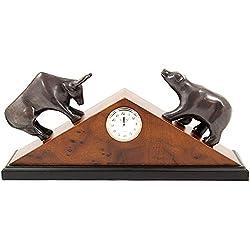 Bey-Berk International Stock Market Clock - Brass