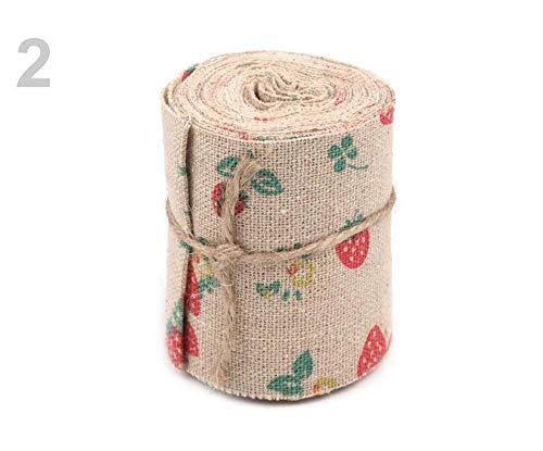 27m 2 Natural Burlap Strawberry Wide Burlap Cotton Ribbon Width 60mm Printed, Home Decor, Canvas Ribbon, Border Trim, Ribbons, Haberdashery