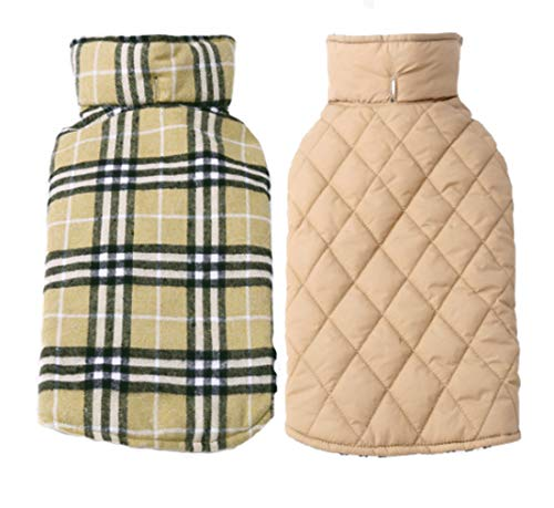 Fesky Dog Jacket Reversible Plaid Dog Coat British Dog Vest Cold Weather Coats Winter Windproof Clothes Warm Waterproof Clothing Snowproof Puppy Jacket Pet Apparel for Small Medium Large Dogs(XS-3XL) ()